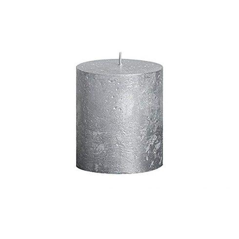 Bolsius rusztikus henger gyertya ezüst metál medium