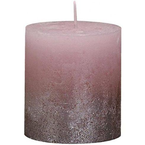 Bolsius rusztikus henger gyertya rózsaszín+ pezsgő metál medium