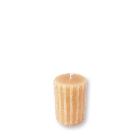 Rusztikus kötött henger gyertya mini vanília