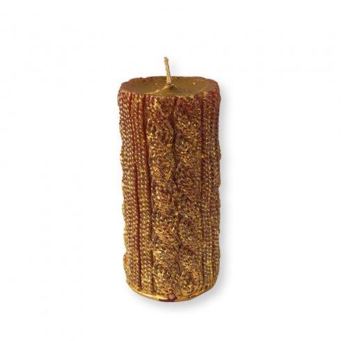 Rusztikus kötött henger gyertya maxi arany