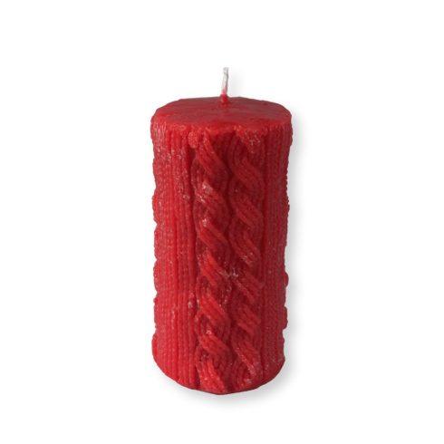 Rusztikus kötött henger gyertya maxi piros