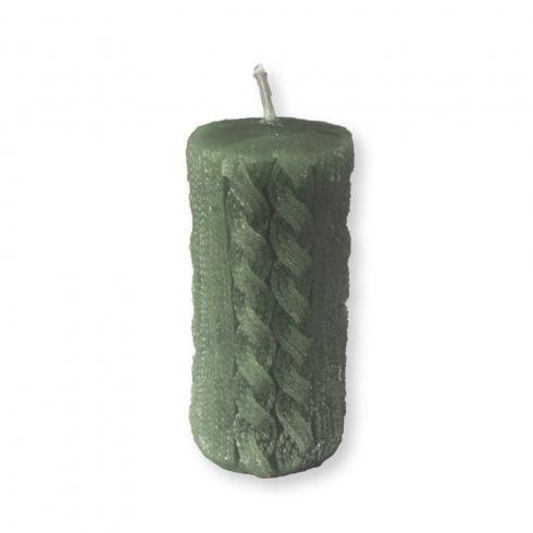 Rusztikus kötött henger gyertya maxi zöld