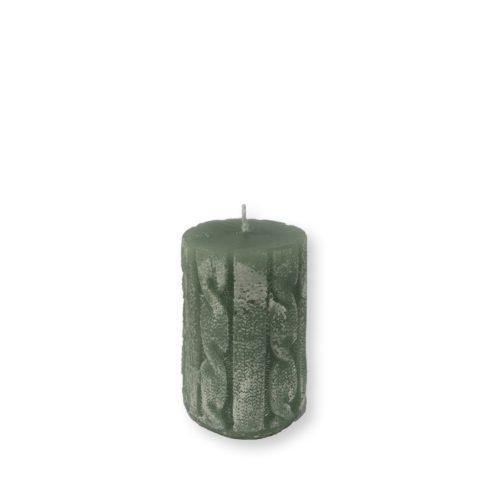 Rusztikus kötött henger gyertya medium zöld