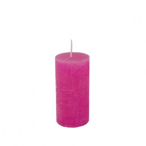 Rusztikus henger gyertya pink 5x10 cm