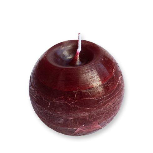 Rusztikus Gömb Gyertya Bordó 8 cm