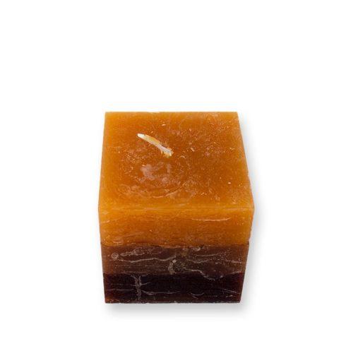 Réteges Kocka gyertya sárga-barna