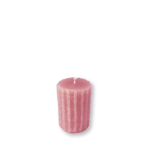 Rusztikus kötött henger gyertya mini rózsaszín