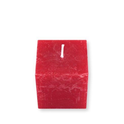 Rusztikus kocka gyertya Piros