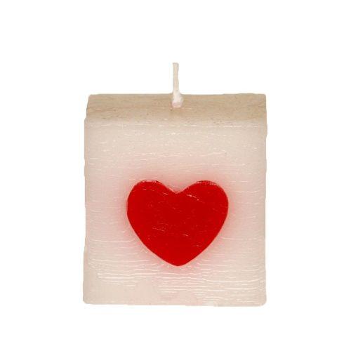 Rusztikus szívecskés kocka gyertya