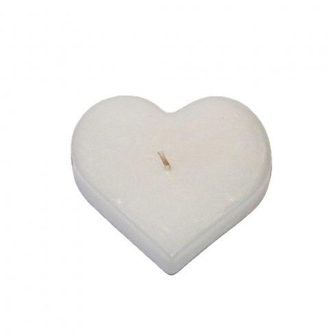 Szív alakú gyertya nagy fehér