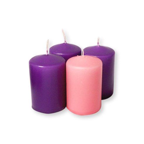 Adventi gyertyák rózsaszín és lila 4 db